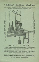 Advert for Shepherd, Rothwell & Hough sewing and knitting machines, reverse side